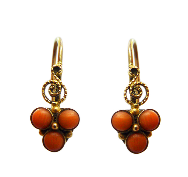 1940s Russian Coral Earrings