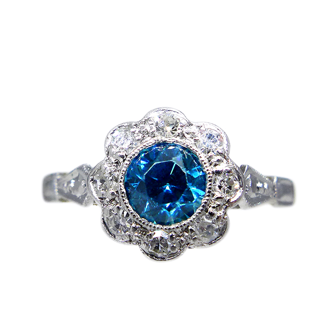 1940s Blue Zircon Ring
