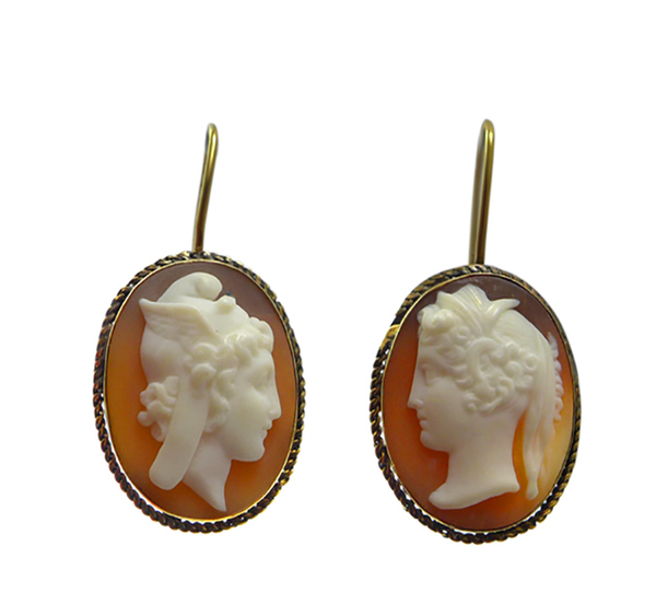 Edwardian Gold Cameo Earrings