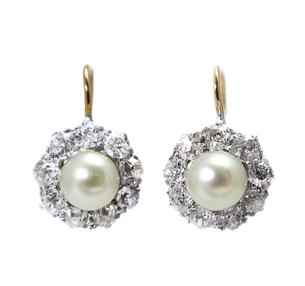 1920s Pearl and Diamond Earrings