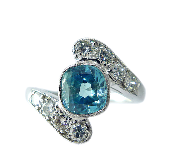 1950s Zircon And Diamond Ring