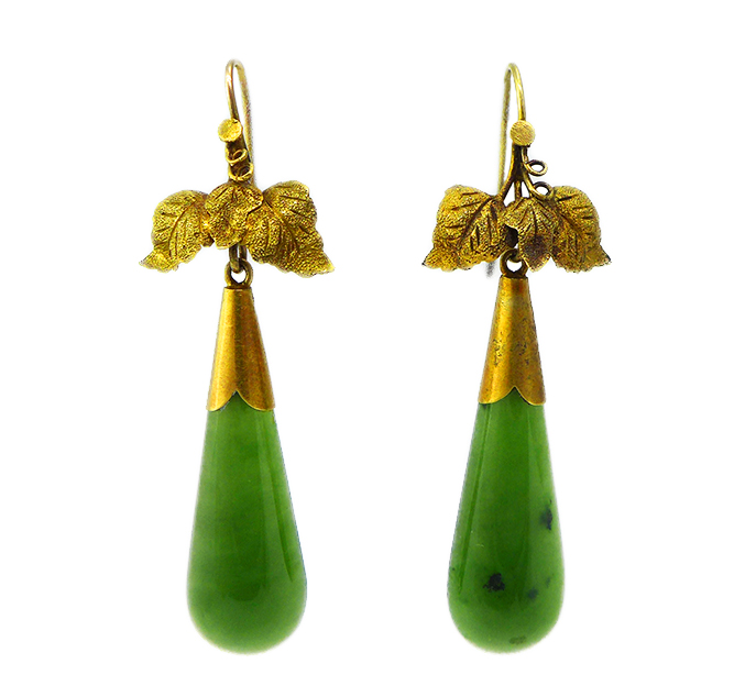 Victorian Gold Nephrite Earrings