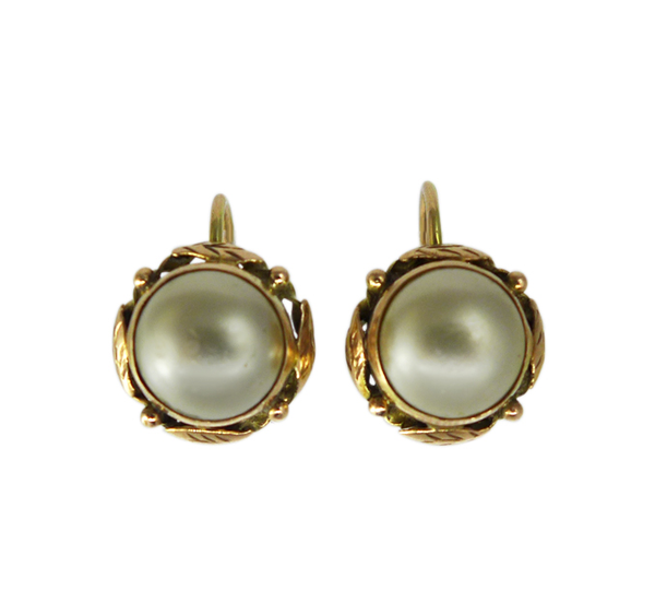 1940s Gold and Pearl Earrings
