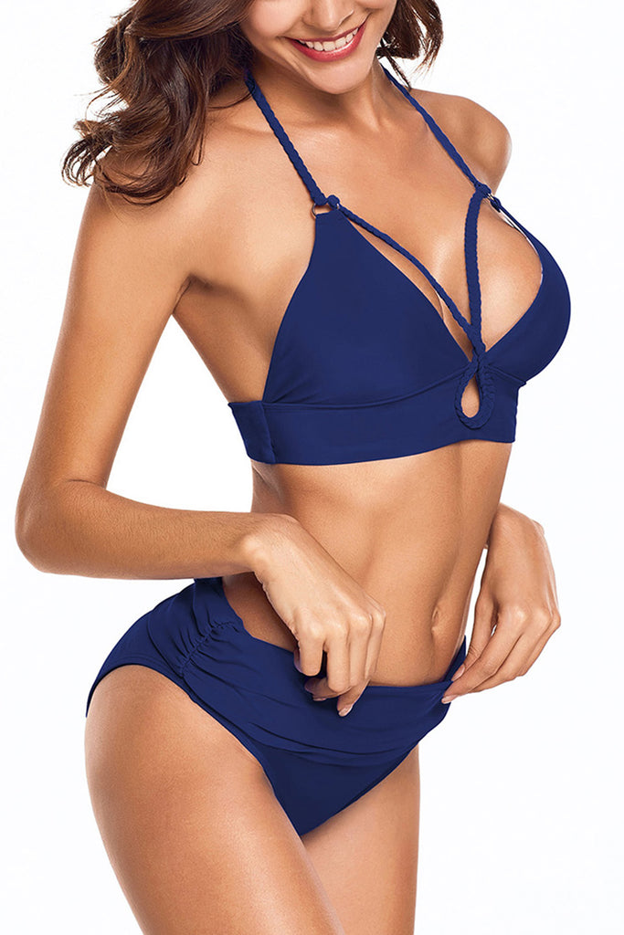 Hemp Rope Design Hollow Solid Color  Bikini Set