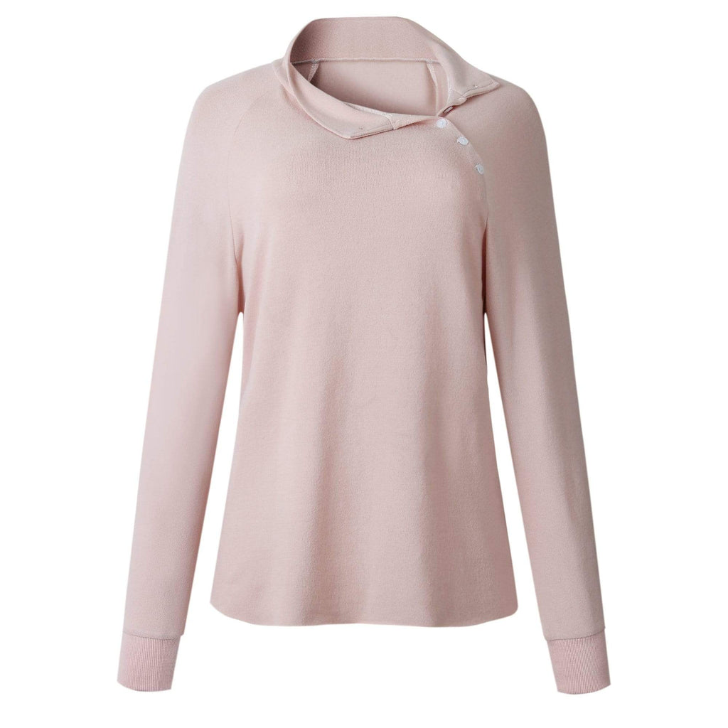 Button Lapel Long Sleeve Sweatshirt