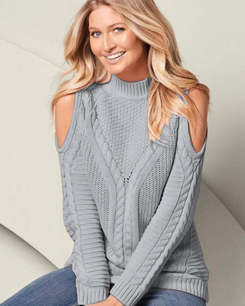 Exlura Off-the-shoulder High Neck Solid Color Sweater