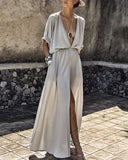 V-neck Bohemian Solid Color Split  Maxi Dress
