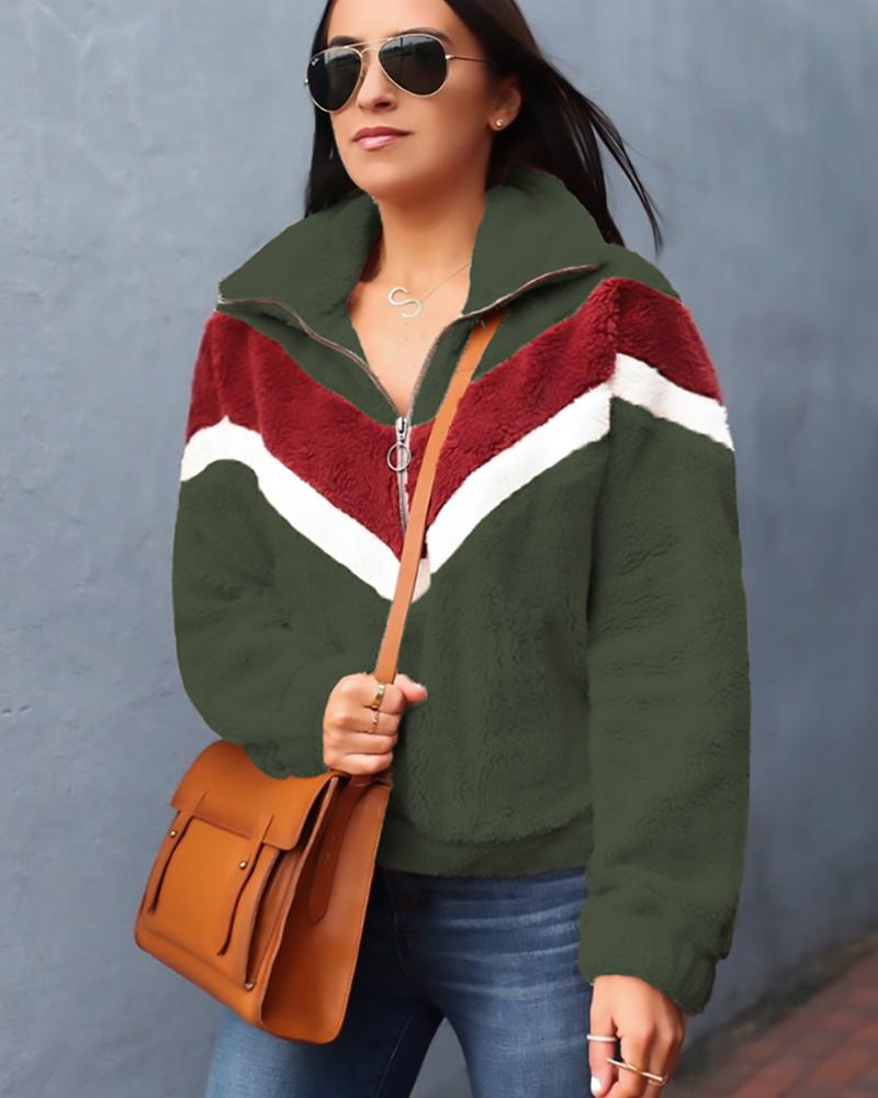 Contrast Color Zipper Hooded Sweater