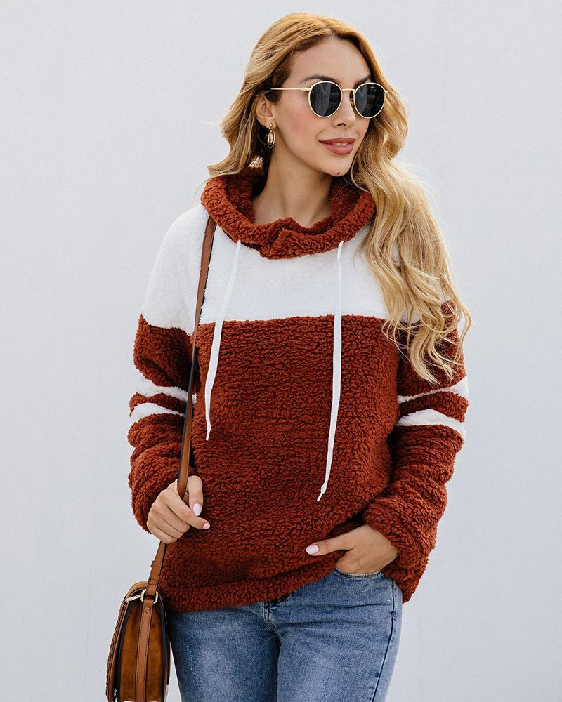 Plush Hooded Contrast Color Hooded Jacket