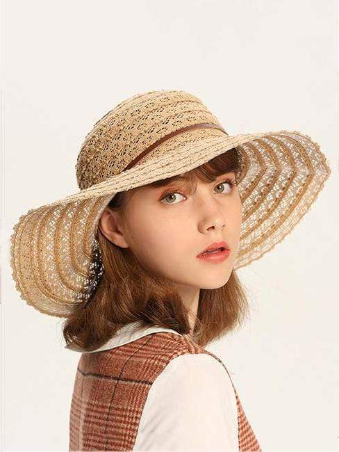 Exlura Lace Foldable Summer Beach Sunscreen Hat 58-60cm