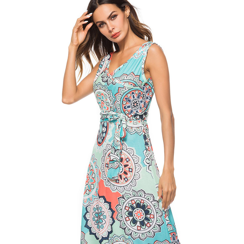 Lace Up Floral Print Sleeveless Dress