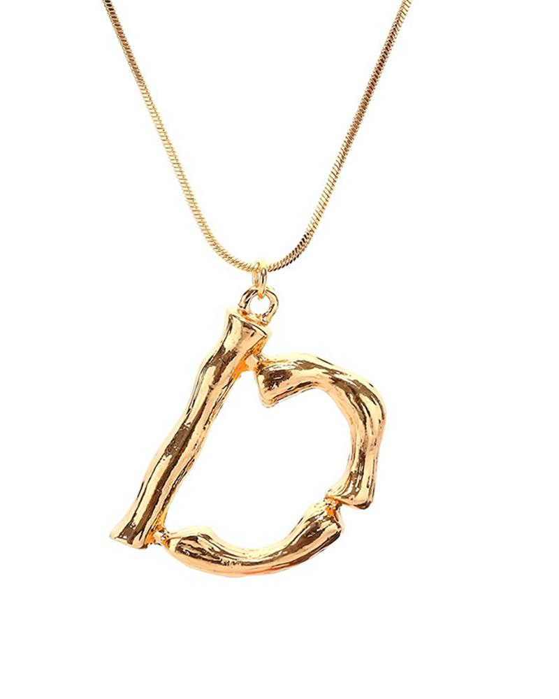 DIY 26 Letter Charm Bamboo Initial Pendant 18K Gold Plated Choker Necklace(Golden)