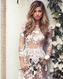 Sexy Hollow White Lace Maxi Party Dress