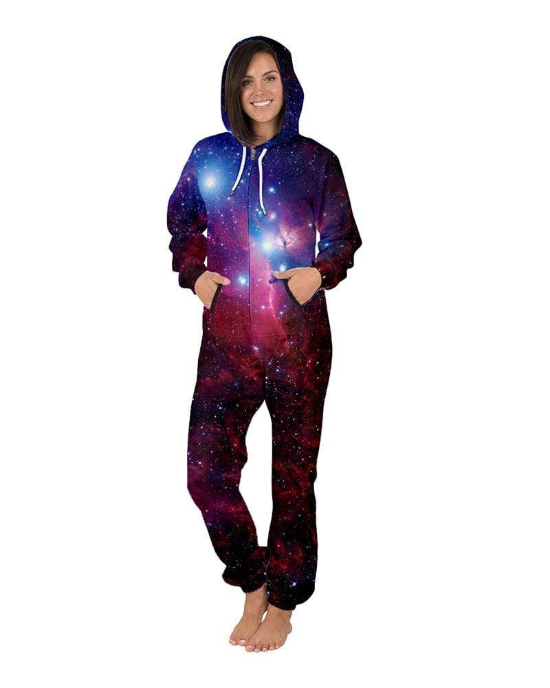 Exlura Star Digital Printing Zipper Hooded Jumpsuit