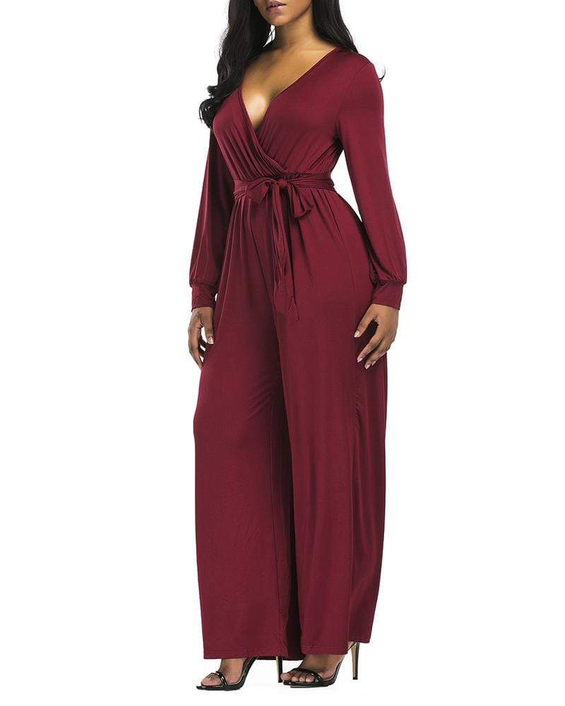 Exlura V-neck Loose Casual Wide Leg Jumpsuit