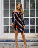 Off The Shoulder Striped Ruffled Irregular Hem Dress