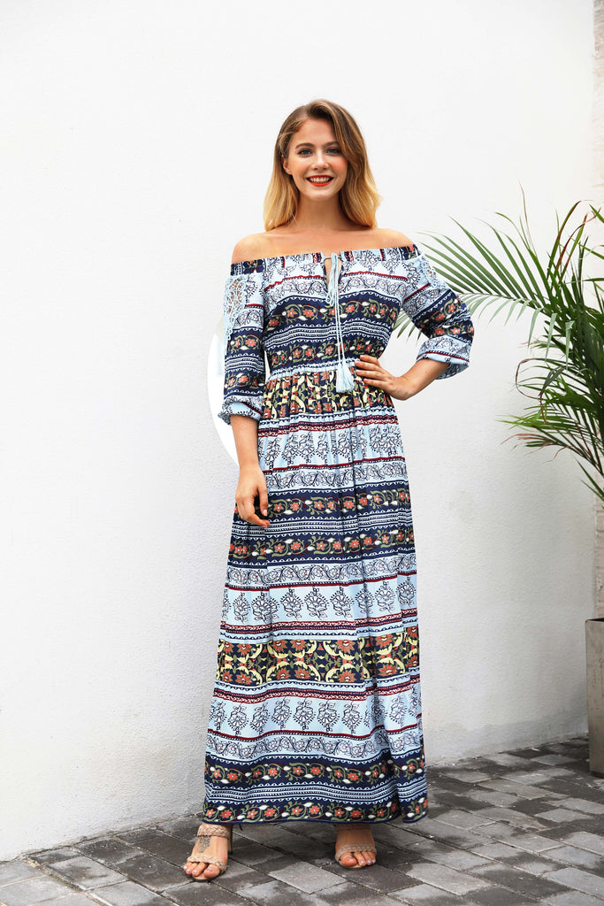 Off The Shoulder Floral Print Beach Long Dress