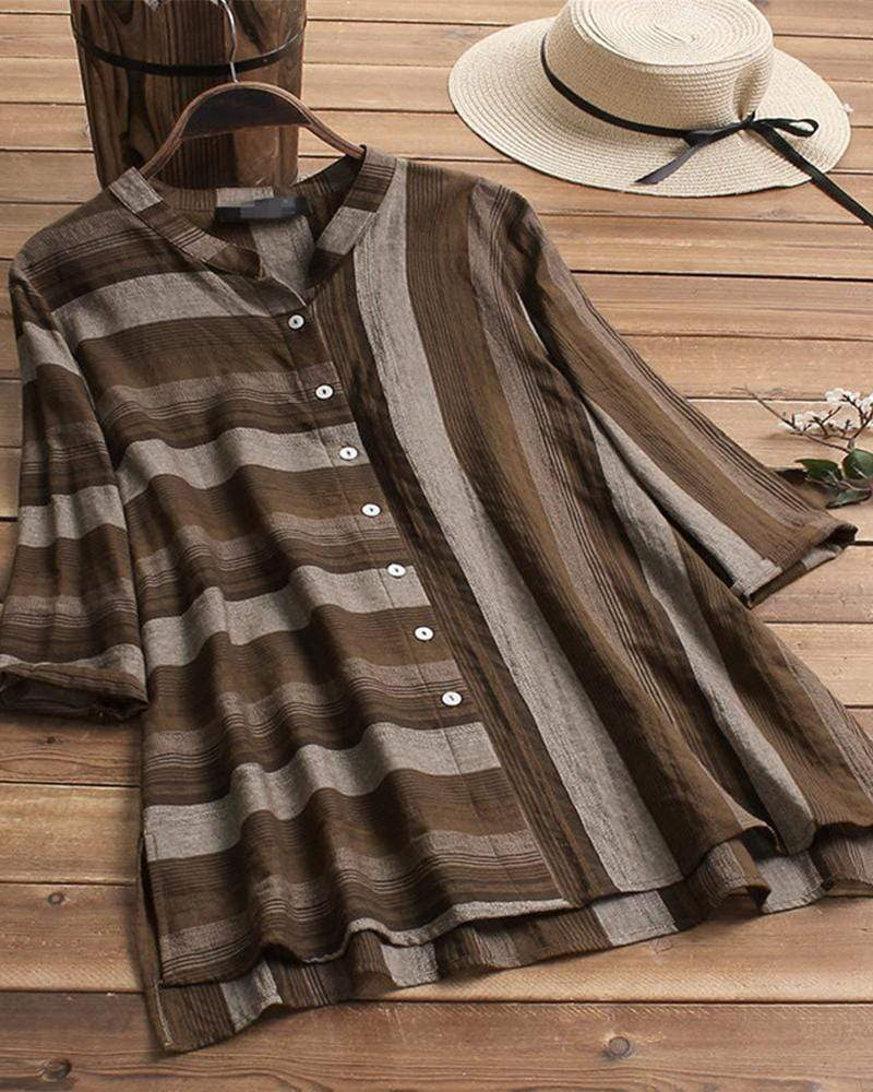 Retro Loose Large Size Striped Button Shirt