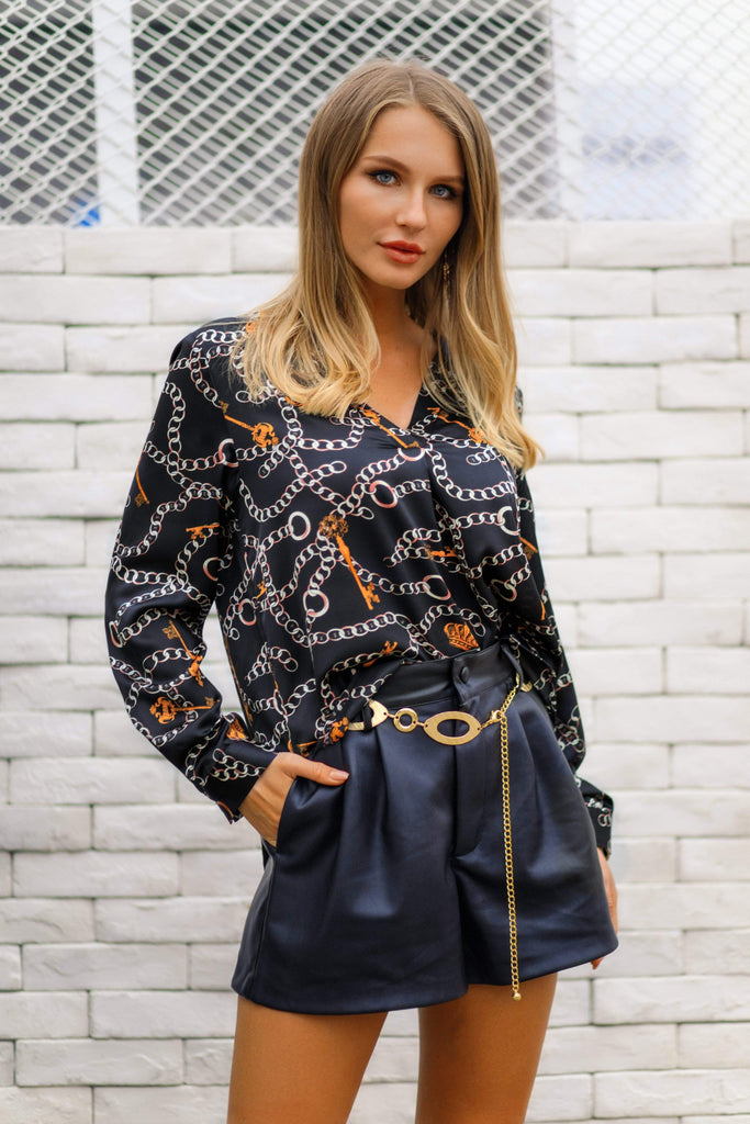 V-Neck Chain Print Workwear Shirt