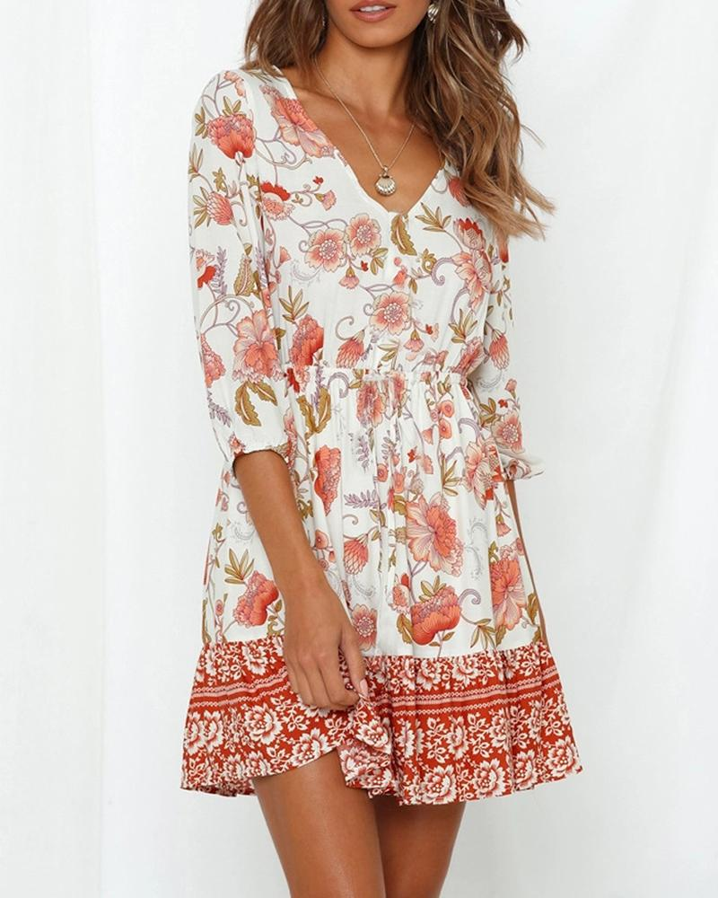 Exlura V-neck Boho Floral Print Dress
