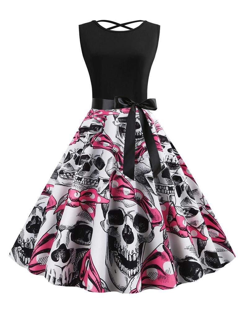 Exlura Sleeveless Halter Cross Straps Skull Dress