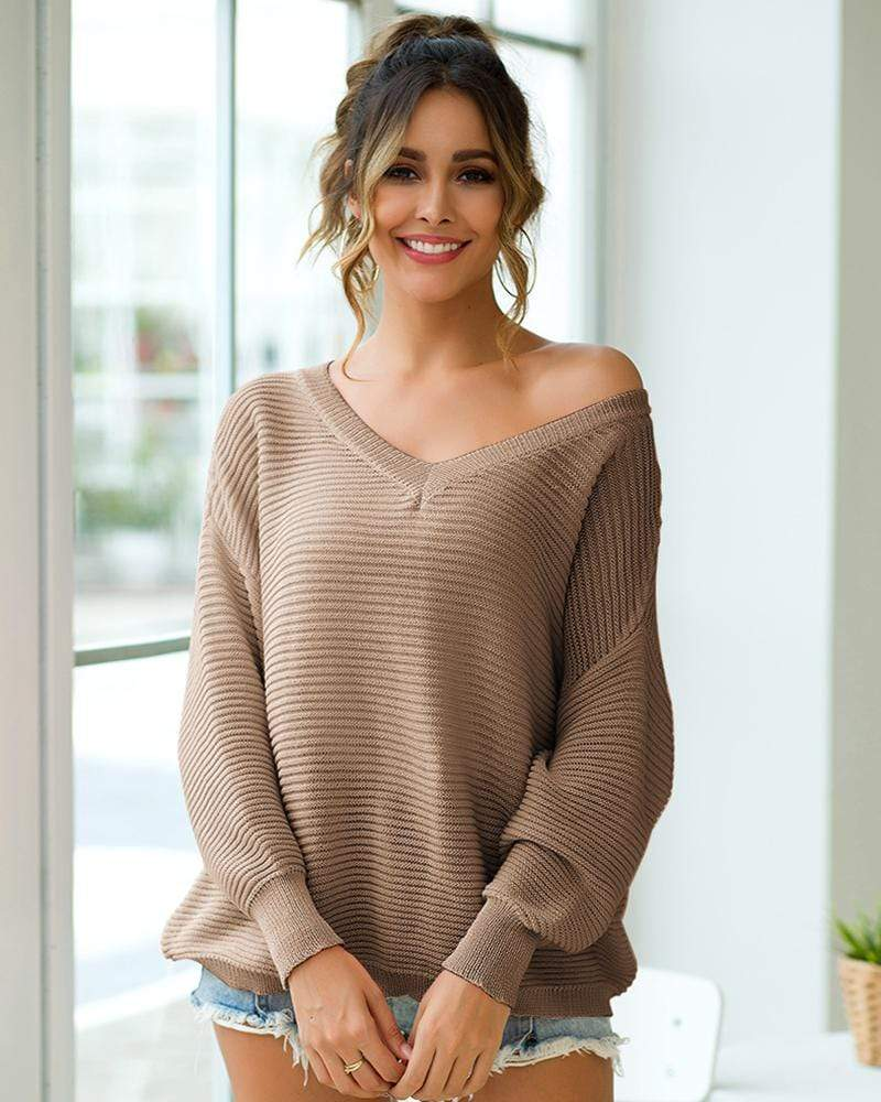 Exlura V-neck Horizontal Stripes Loose Knit Sweater