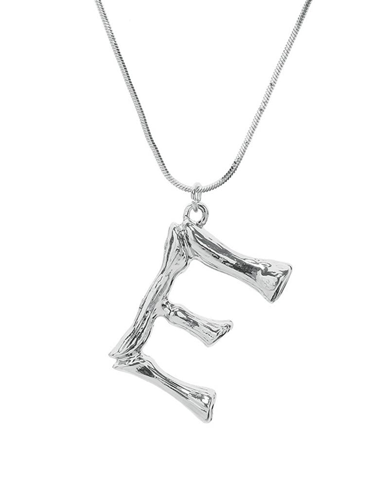 DIY 26 Letter Charm Bamboo Initial Pendant 18K Gold Plated Choker Necklace(Sliver)