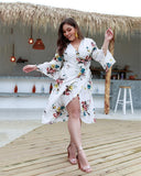 Floral Print High Waisted  Irregular Hem Holiday Dress