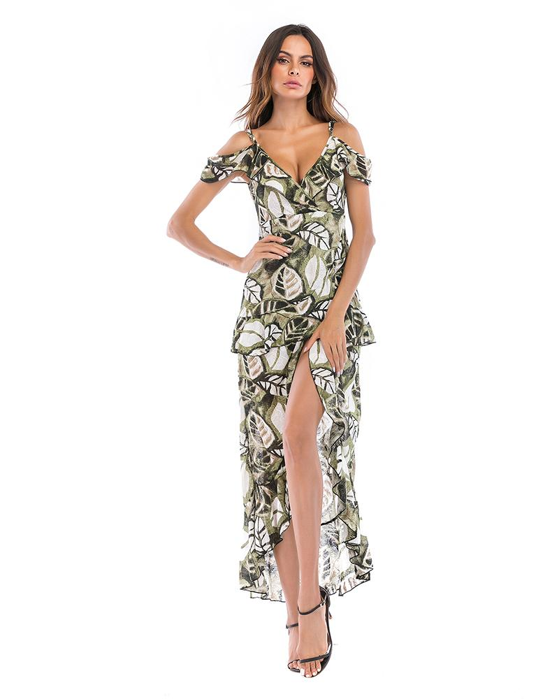 Deep V-neck Butterfly Print Irregular Sling Dress
