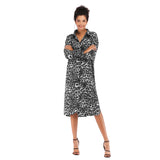 Print Leopard Causal Shirt Dress
