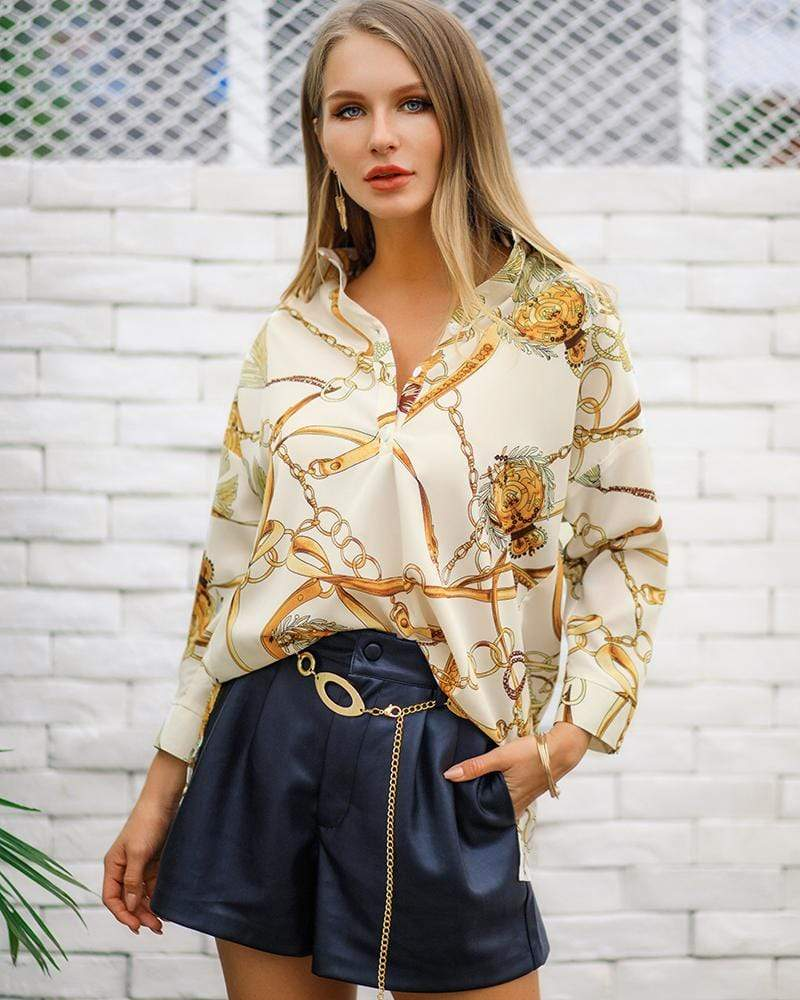 V Neck Chain Printed 3/4 Sleeve Blouse