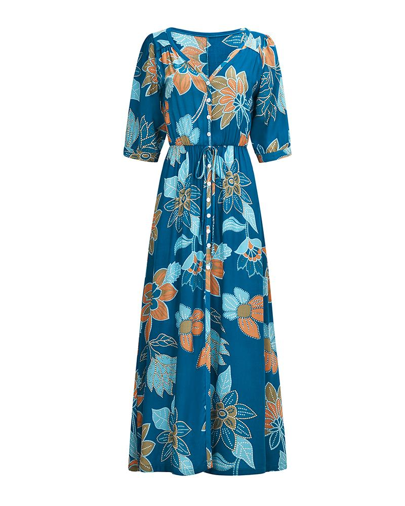 V Neck Bohemian Floral Print Beach Dress