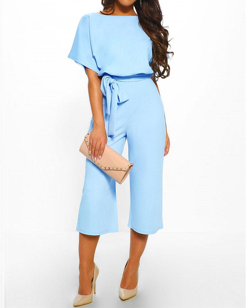 Lace Up Short Sleeve High Waist Wide Leg Cropped Jumpsuit