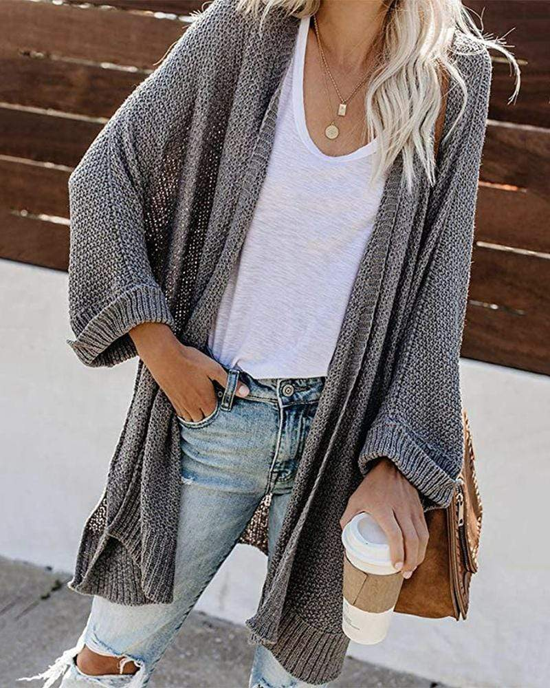Exlura Long Split Sleeve Solid Color Cardigan