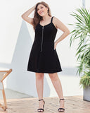 Zipper V-neck Waist Slim Large Size A-line Dress
