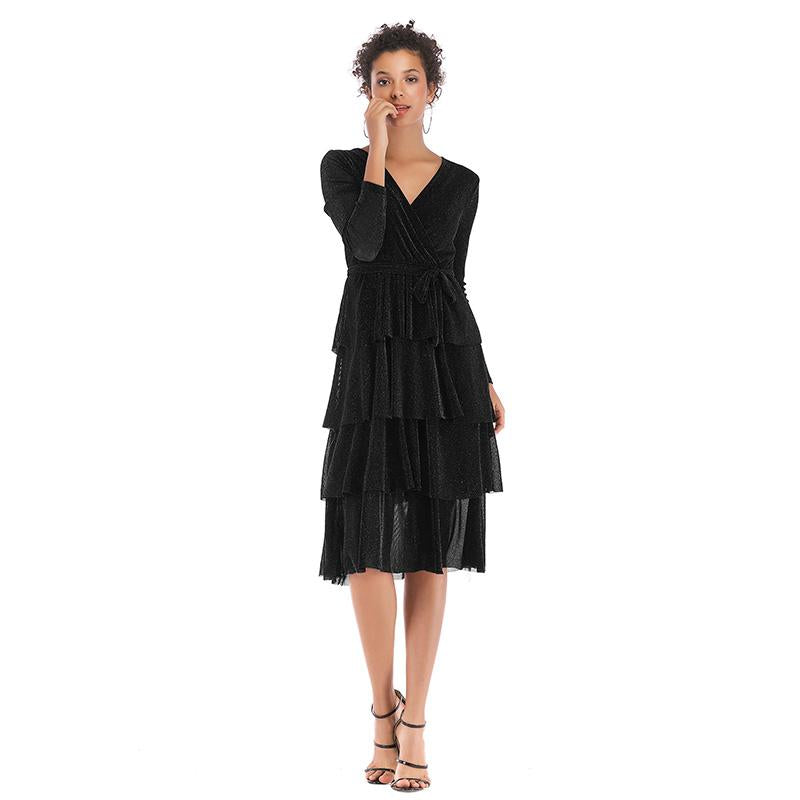 Vintage Rib  Multilayer Ruffle Party Dress