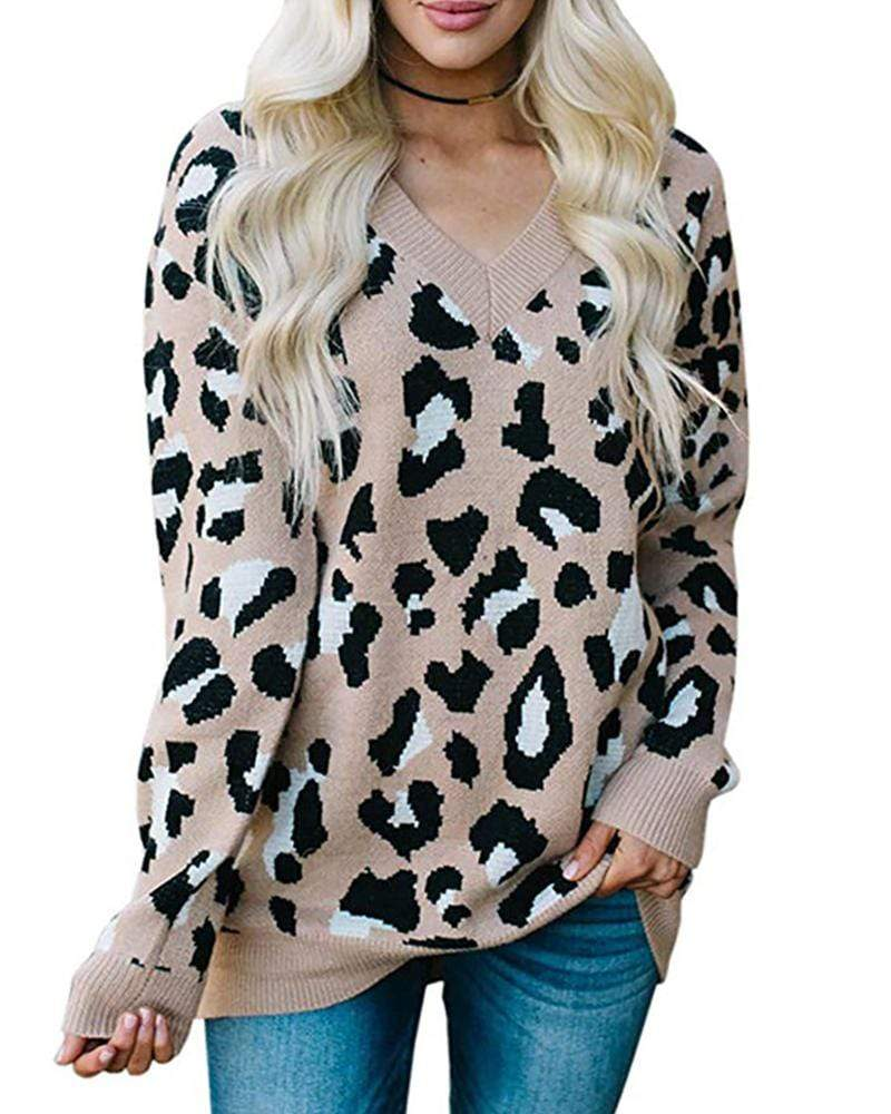 Exlura Leopard Print V-neck Sweater