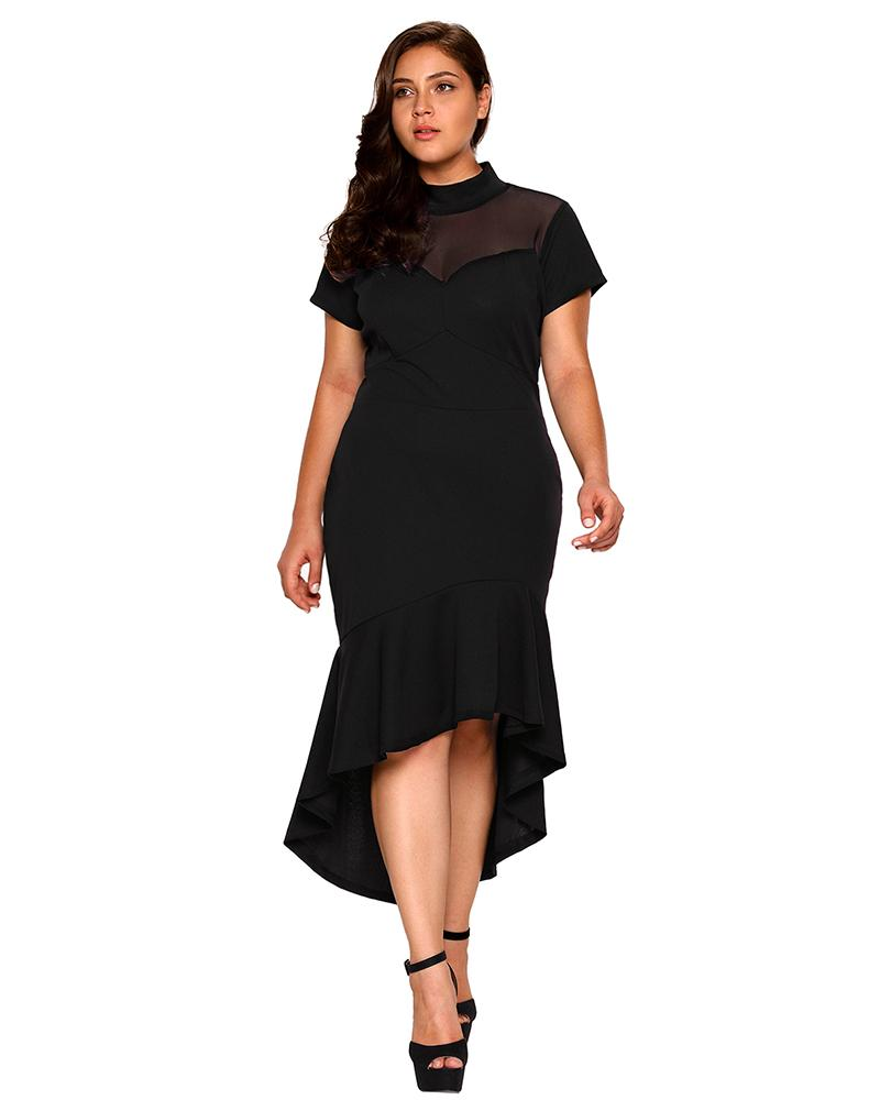 Mesh Stitching High Collar Bodycon Plus Size Dress