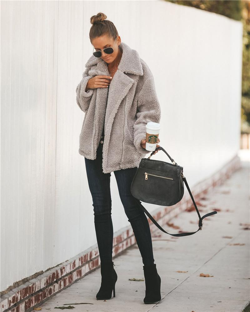Faux Fur Lapel Thick Wool Trench Coat Winter Jacket
