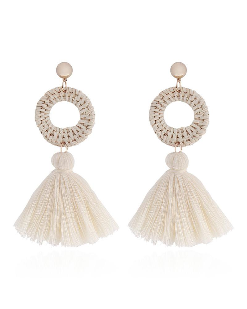Bohemian Hand-woven Rattan Straw Earrings