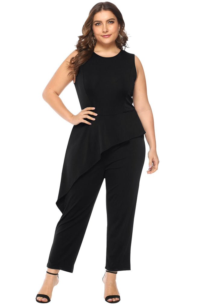 Large Size Ruffled Side Sleeveless Slim Jumpsuit