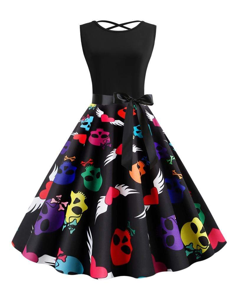 Exlura Sleeveless Halter Straps Skull Dress