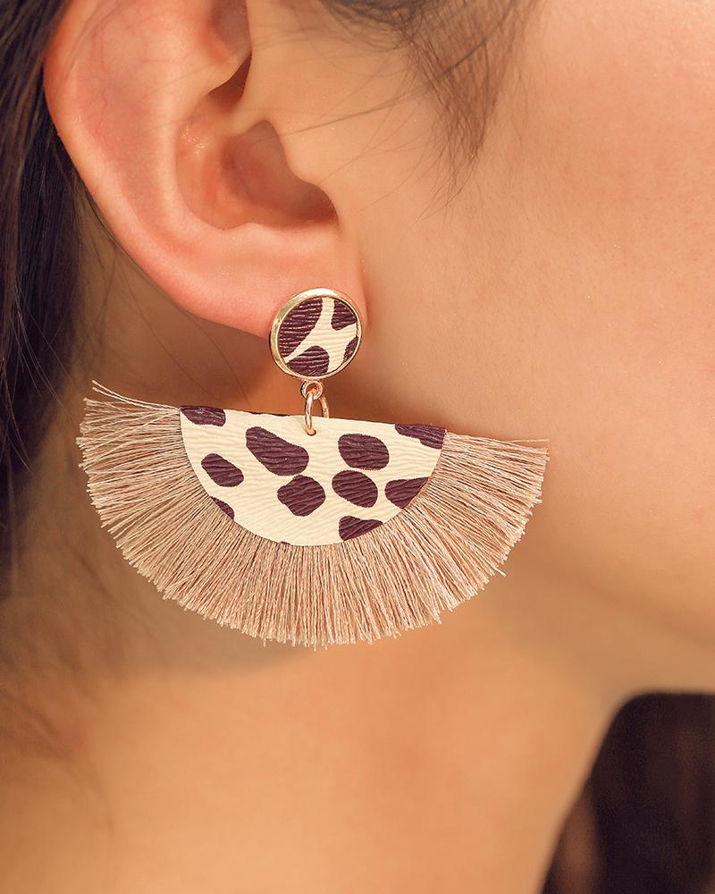 Bohemian Tassel Fan Shaped Wave Point Earrings