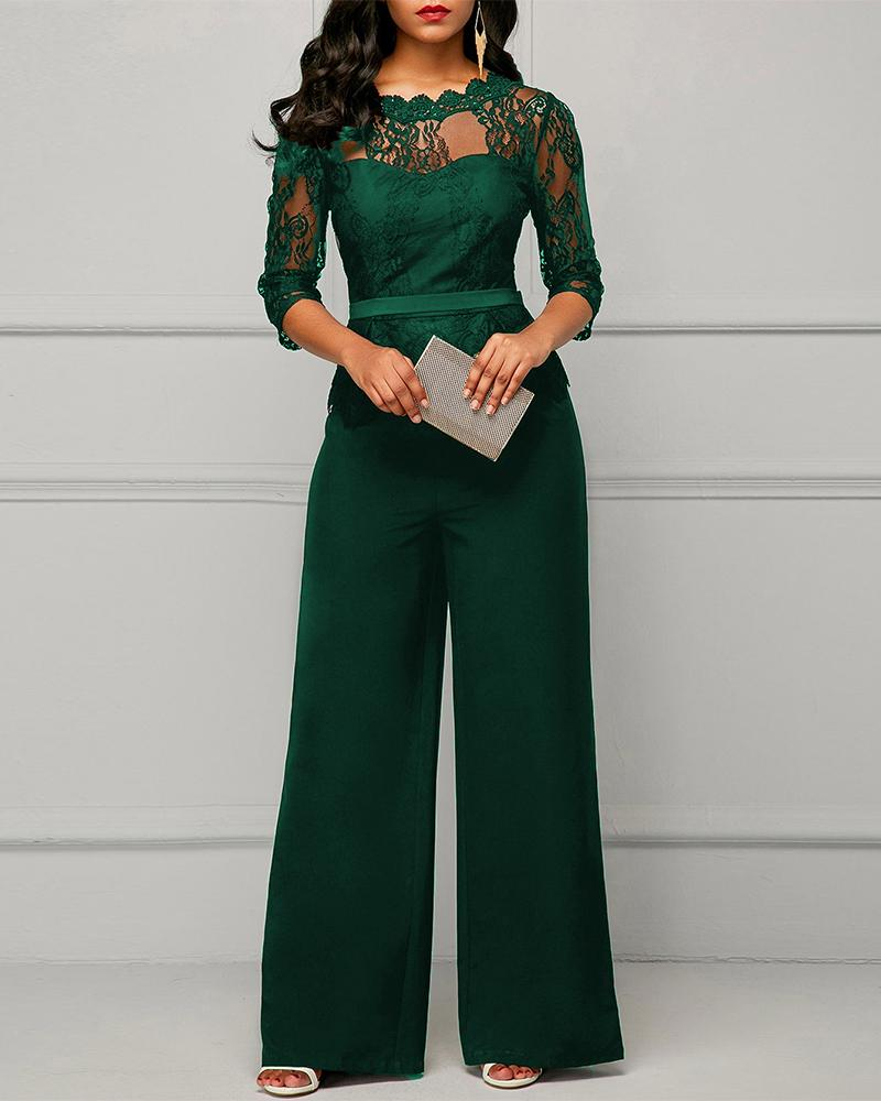 Exlura Sexy Solid Color Lace Jumpsuit