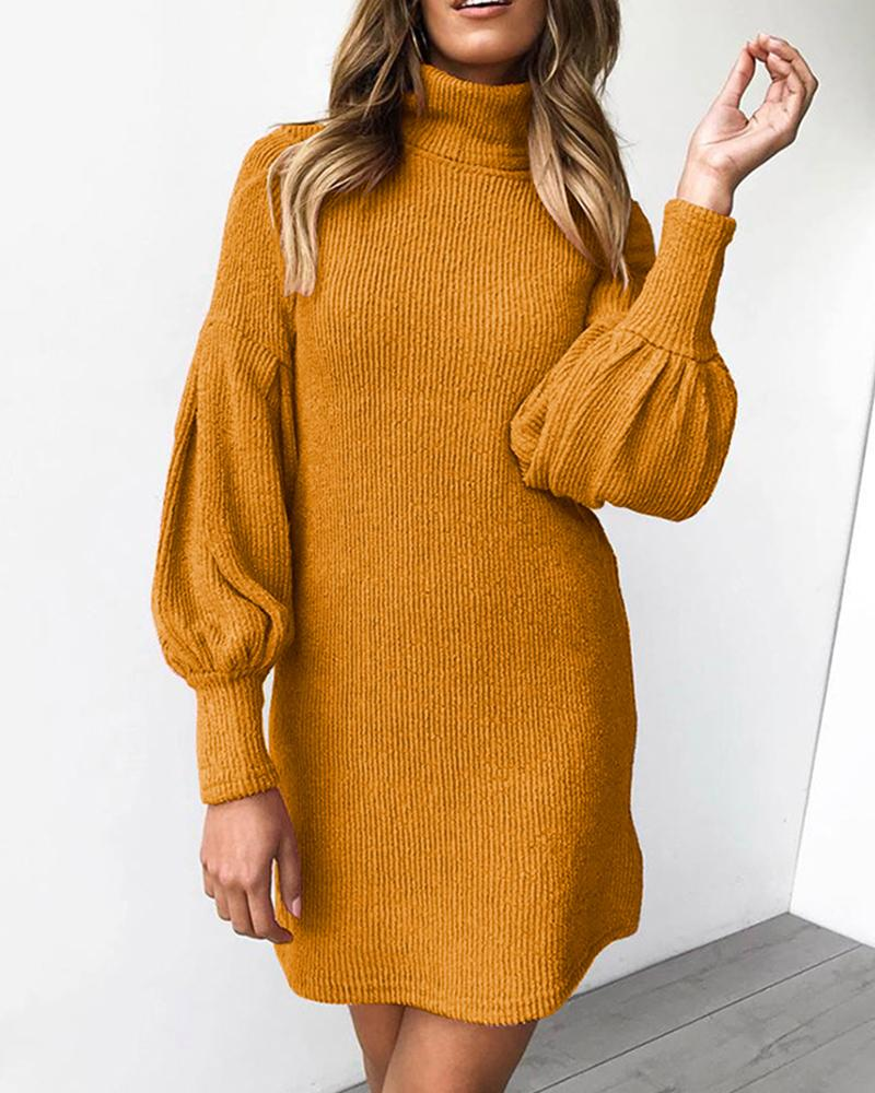 Turtleneck Lantern Sleeve Knit Dress