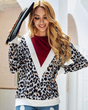 Exlura Stitching Leopard Long Sleeve Sweater
