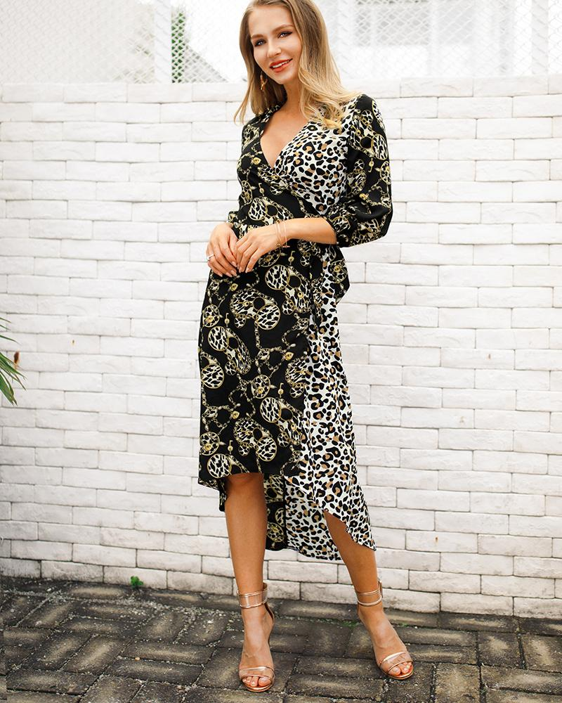 Contrast Color Chain Printed Irregular Hem Dress