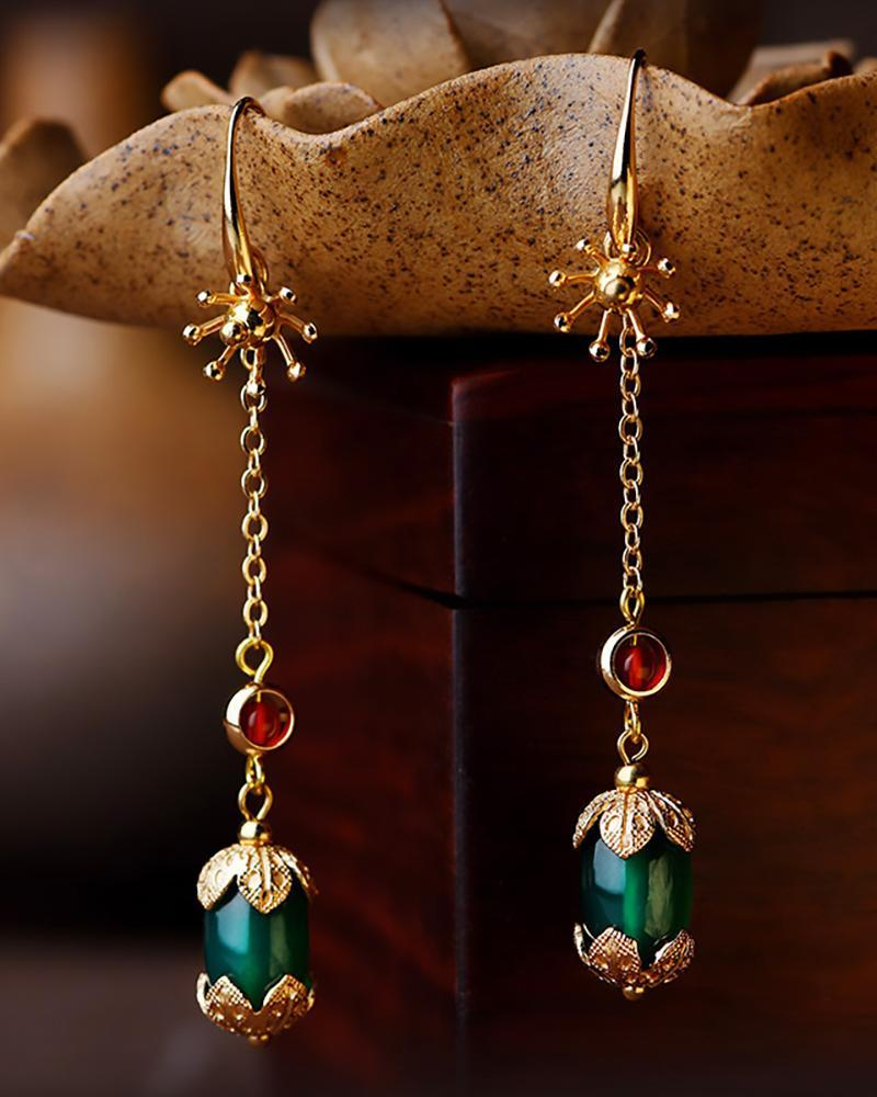 Vintage Agate Gold-plated Earrings