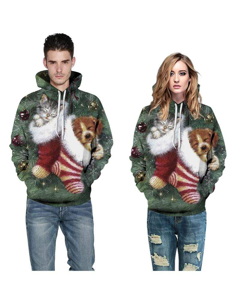 Exlura Unisex Funny Dog Print Christmas Hooded Pullover