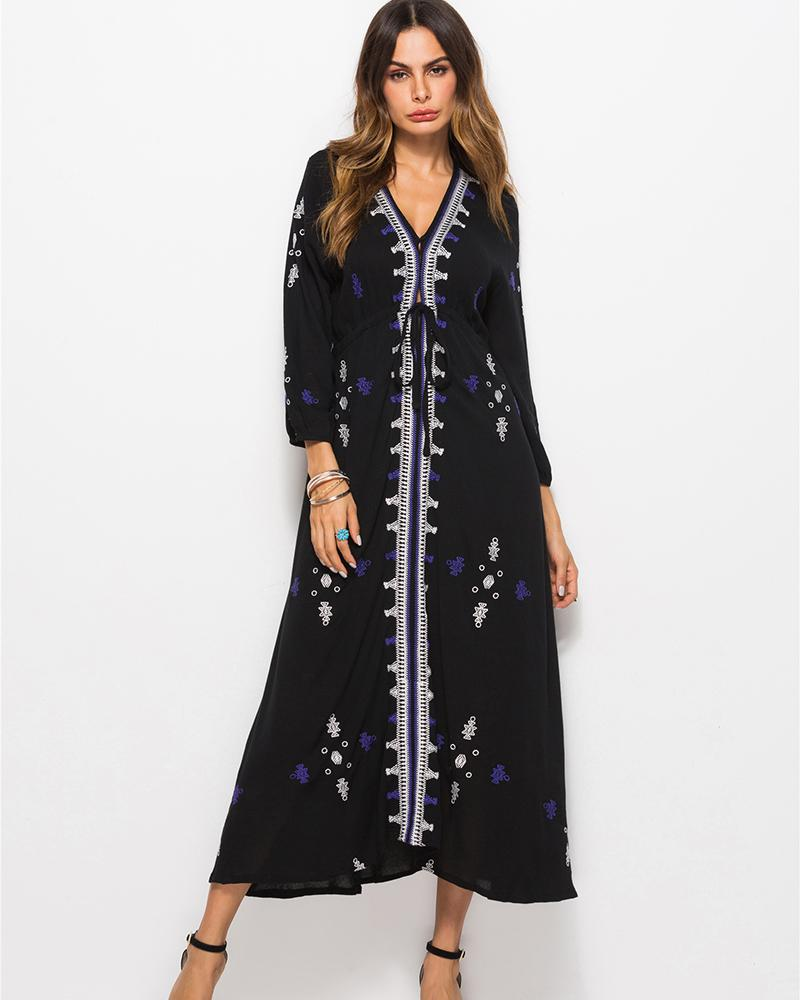 Ethnic Embroidery Floral Print Dress